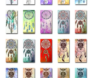 Dream Catcher Owl Feathers Web 1x2 Inch Domino Size Digital Instant Download JPEG Images (16-19)