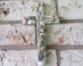 Shell Wall Cross in Sea Green
