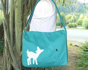 Turquoise green cotton canvas messenger bag / shoulder bag / deer messenger /diaper bag / fawn sewn