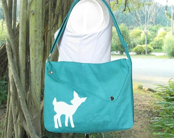 Turquoise green cotton canvas messenger bag / shoulder bag / deer messenger /diaper bag / fawn sewn