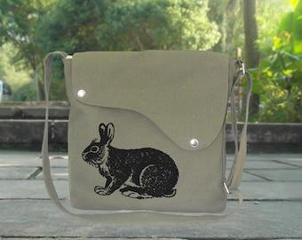Olive green cotton canvas crossbody bag, messenger bag with rabbit printed, personalized screen printed bag, shoulder bag, travel bag