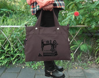 Brown canvas messenger bag / shoulder bag / laptop bag / brief case / diaper bag / tote bag / travael bag