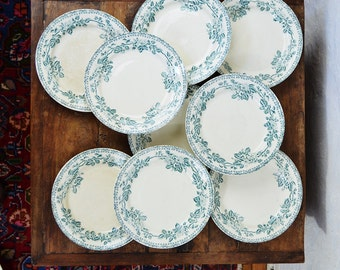 LOT 9 Antique French side plates Ironstone Dog Roses  Transferware DEBRAY Guadeloupe