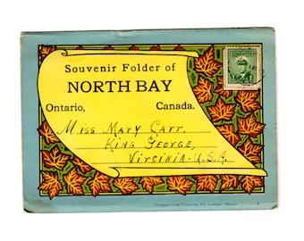 Vintage North Bay Ontario Canada Postcard Souvenir Folder