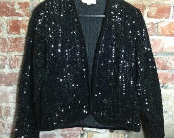Vintage 60s 80s Black Sequin Blazer with Shoulder Pads & Velvet Trim Size Medium