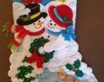 """Finished Felt Christmas Stocking """"Your love Melts My Heart"""" 18 inch"""