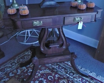 Mahogany Double Lyre Hall Table