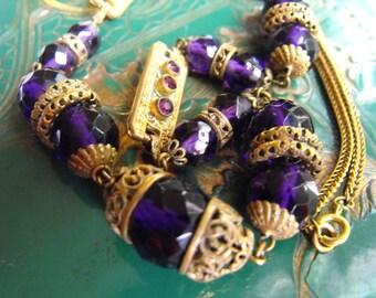 Neiger? Czech Nouveau necklace Deep Brilliant Amethyst  purple necklace  Gilded Brass filigree