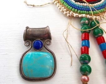 Vintage 925 Sterling Turquoise Lapis Pendant Charm Thailand