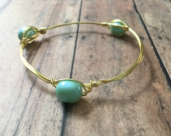 Blue three bead stackable mix and match bangle