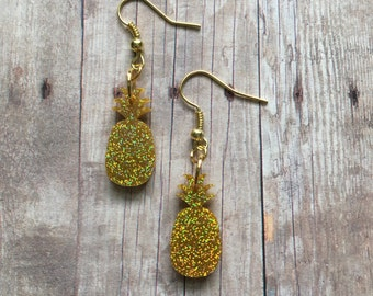 Gold glitter pineapple earrings