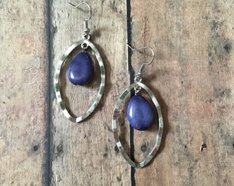 Purple stone dangle earrings