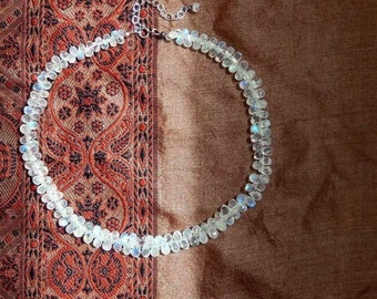 Rainbow Moonstone Necklace, Sterling Silver, Moonstone Briolette Necklace, Spring Wedding, Boho Bride, Unique Gift for Her