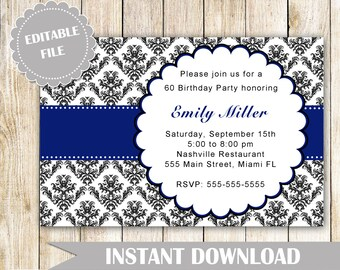 Damask Invitation - Adult Birthday Party Invites Navy Blue Editable File INSTANT DOWNLOAD