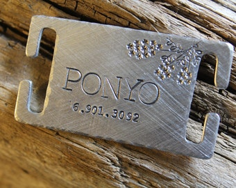 Custom Pet ID Quiet Tag, Slide On Dog ID Tag, Personalized Dog ID Tag, The Ponyo
