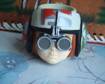 Vintage Anakin Skywalker Plastic Mug. Anakin Wearing His Pod Racer Helmet. Lucasfilm Original Mug. Made by Applause. Rare Star Wars Item.