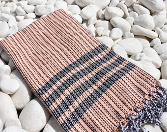 Turkishtowel-Soft-Hand woven,warp&weft cotton Bath,Beach Towel-net working draft pattern,weft colors-Peach-pale orange and black stripes
