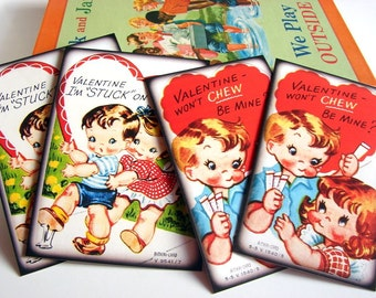 Valentine's Day Postcard Set - Chewing Gum Valentines Vintage Kids Boy Girl Funny School Puns Stuck On You- 4 Sm Note Card Greeting Cards