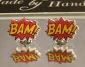 BAM Comic book Stud Earrings - Surgical steel