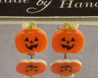 Jack O Lantern Stud Earrings - Halloween Jewelry - pumpkin