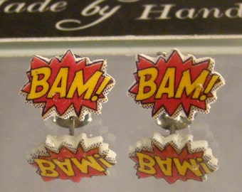 BAM Comic book Stud Earrings - Surgical steel