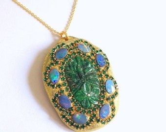 SUMMER SALE CLEARANCE Carved green Egyptian stone and fiery opal pendant