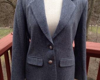 Vintage Pendleton wool blazer, grey suit coat, dressy fitted blazer, size 6 blazer, petite blazer, gift for her,