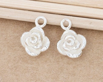 2 of 925 Sterling Silver Rose Charms 8mm. :th2503