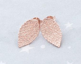 1 Pair of 925 Sterling Silver Rose Gold Vermeil Style Leaf Stud Earrings 9.5x15.5mm. :pg0254