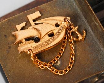 Vintage metal brooch, badge pin, sailing vessel, tall ship.