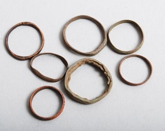 Set of 7 antique brass rings, primitive finding