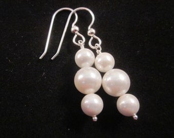 Sterling Silver Earrings - Simply Elegant -  with White Shell Pearls, Custom, Wedding, Bride, Prom, Pageant, Bridal, Mother, SRAJD