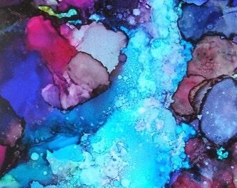 Waterfall Art Print, Landscape Print, Alcohol Ink Art, Summer Art Trend, Fine Art Painting, Inexpensive Art, Home Decor Wall Art, Giclee