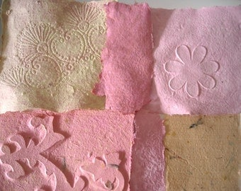 Embossed Paper, Decoupage Paper, Art Paper Craft, Peach Collage Paper, Recycled Paper, Homemade Paper, Beautiful Handmade Paper Sheets