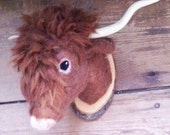 ON SALE needle felted highlander bull  style faux taxidermy  by felt factory -READY To Ship