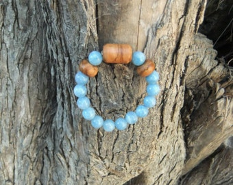 Stunning Blue Quartz and olive wood Bracelet