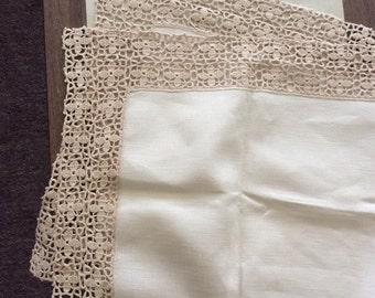 Vintage Linen and Hand Crochet Lace Border Table Runner / Polish Table Runner / On Sale