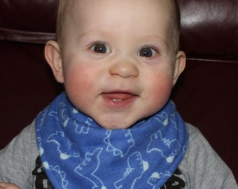 Dinosaur Baby Bandana Bib Boy Drool Baby Bib with a Blue Dinosaur Flannel Print and Blue Terry Cloth Lining for a Teething Dino Baby Boy