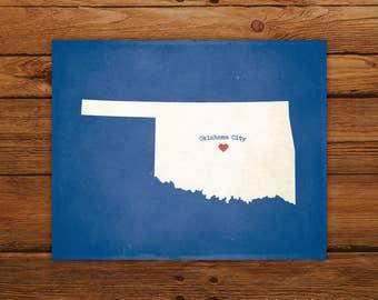 Customized Printable Oklahoma State Map Art - DIGITAL FILE - Aged-Look Canvas Wall Art Print