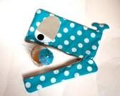 Aqua polka dot Whale laptop sleeve 17 inch