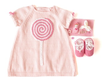 Knitted baby dress pink with a crochet lollipop. 100% cotton. READY TO SHIP size Newborn.