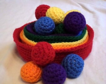 Crochet Stacking Bowls with Matching Sorting Balls