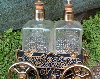 Vintage Decanters in Musical Carriage.  G-150