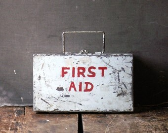 Vintage White First Aid Kit filled with supplies - Great Retro Bathroom Decor