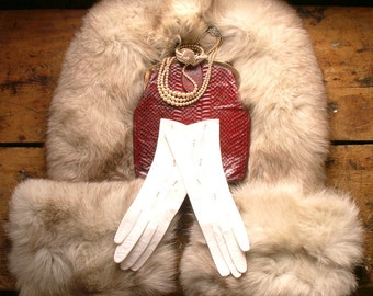 Vintage Long Fur Collar and Cuffs - Perfect for Re-purposing