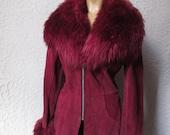 70s Vintage Mod Disco Burgundy Suede Fur Jacket sm/med