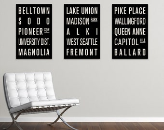 SEATTLE Collection of 3 Subway Sign Prints. Bus Scrolls.