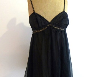 ON SALE Vintage 1960s semi sheer black baby doll negligee