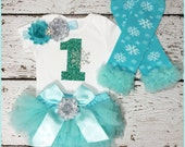 Birthday Girl FROZEN Outfit,  birthday girl snowflex bloomer set, sparkly aquablue glitter birthday, frozen smash cake outfit  bloomer~