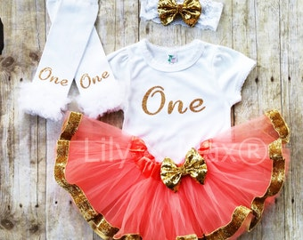 Coral and gold ONE Outfit,Birthday set, Sparkly Glitter ONE outfit with coral tutu with gold velvet ribbon trim